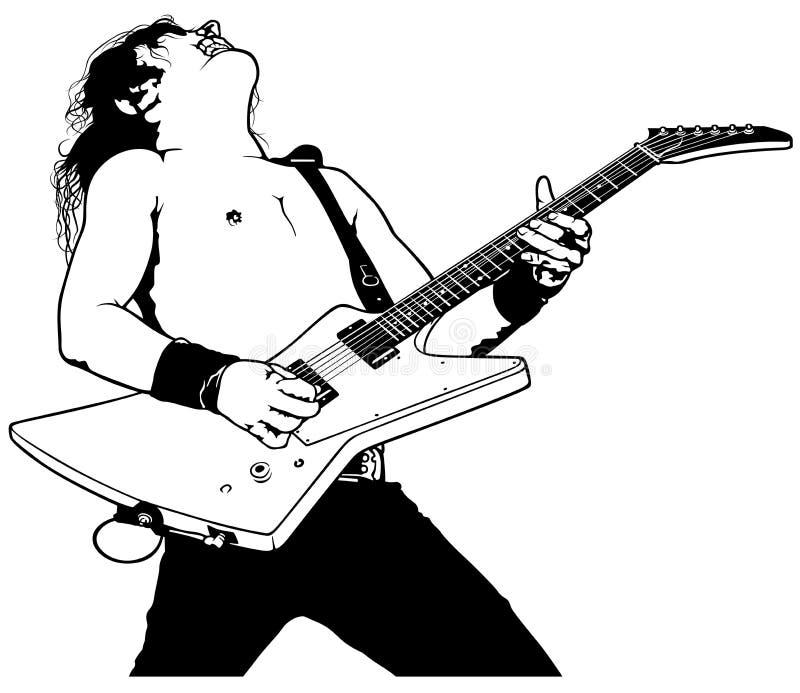 Rock Guitarist spelar solo stock illustrationer