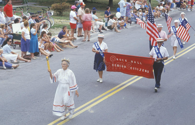 Rock Hall Senior Citizens Marching in July 4th Parade, Rock Hall, Maryland royalty free stock photography