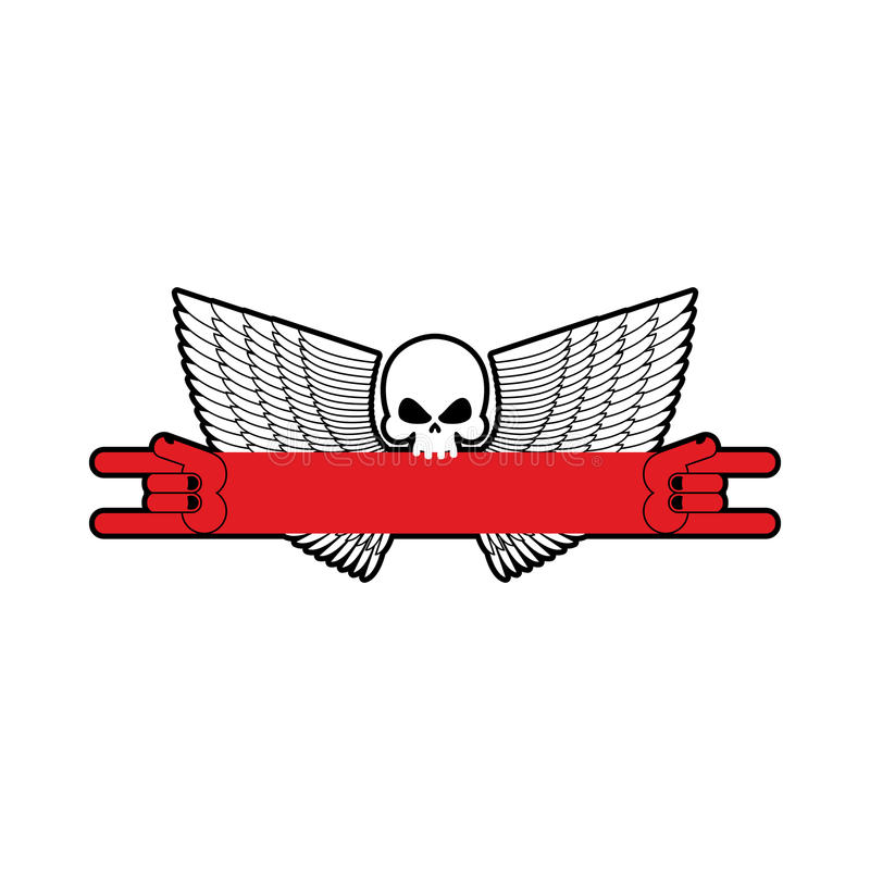 Rock Hand And Skull Symbol Of Music Rock And Roll Emblem Isolat