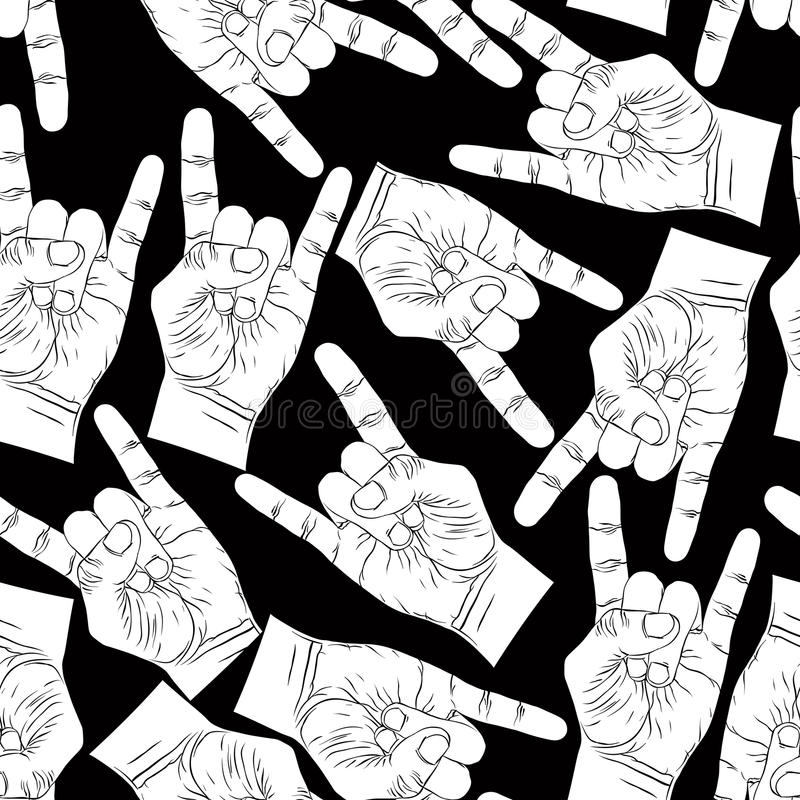 Download Rock Hands Seamless Pattern Metal And Roll Music St Stock