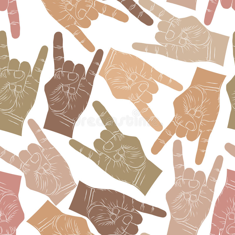 Rock hands seamless pattern, rock, metal, rock and roll music st. Yle vector background for wallpapers, textile or other designs stock illustration