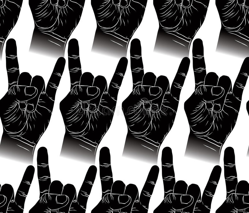 Rock Hands Seamless Pattern Metal And Roll Music Style Vector Background For Wallpapers Textile Or Other Designs