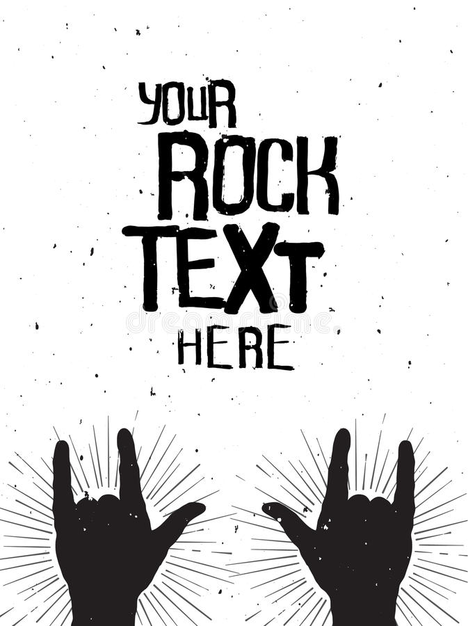 Rock hands silhouettes on a concert,grunge template for your text vector illustration