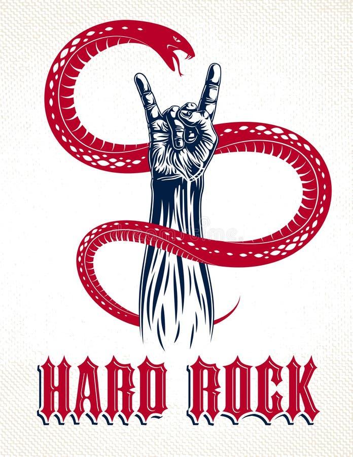 schaukeln sie hand kreatives zeichen mit band musikemblem rock rol vektor abbildung