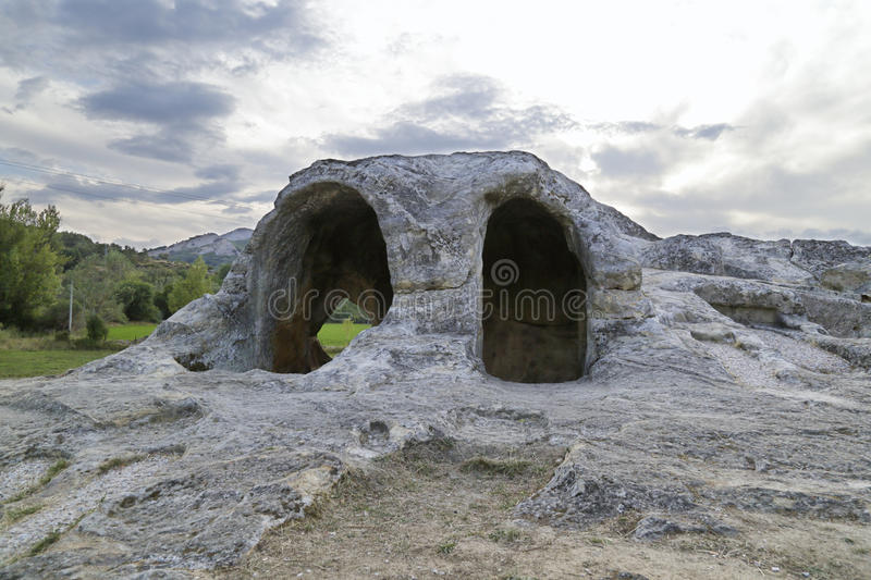 Rock hermitage, Spain. Remains of the rock hermitage of San Vicente located in the province of Palencia, Castile and Leon, Spain stock image