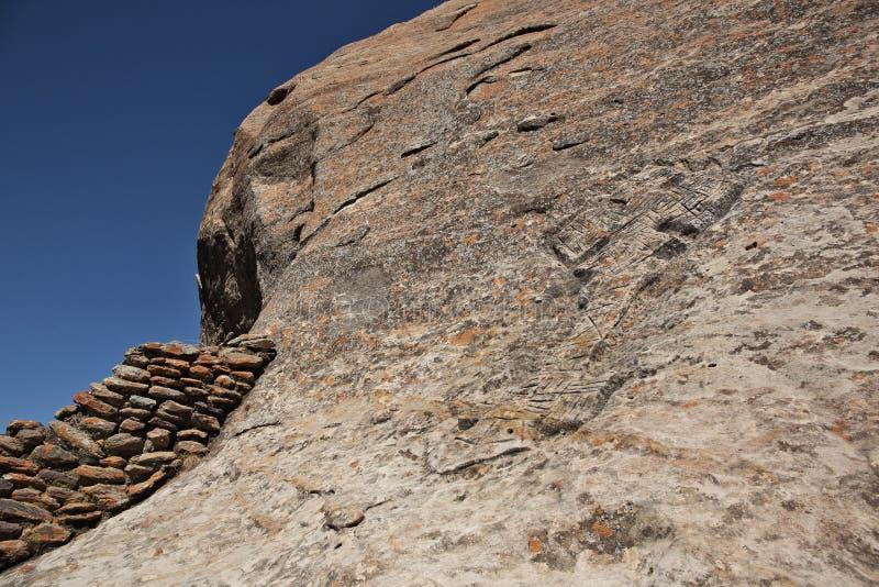 Rock hewn Ethiopian Christian cross. шт Tigray region royalty free stock photography