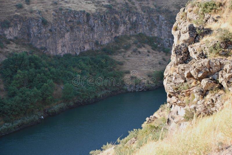 Rock in Hrazdan River in Argel, Armenia stock photos