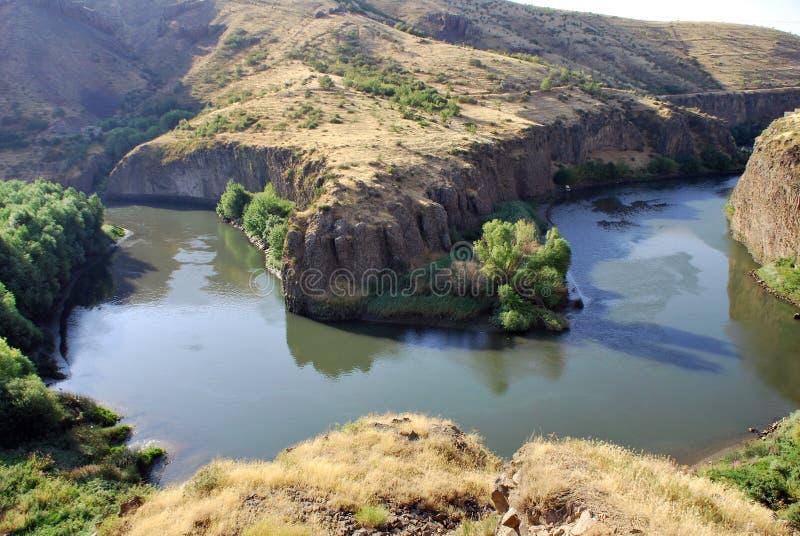Rock in Hrazdan River in Argel, Armenia stock photo