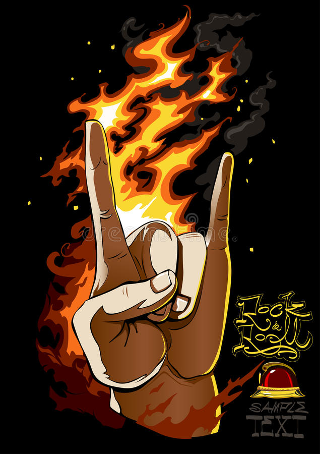 Rock On. Human hand on black background with fire flames and custom freehand Rock and Roll lettering. EPS 8. All vector vector illustration