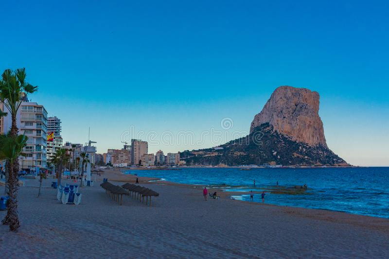 Rock of Ifach and beach royalty free stock photography