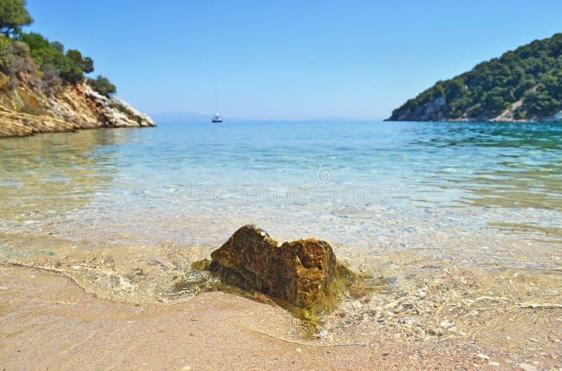 Rock inside the sea at Ithaca Greece royalty free stock photos