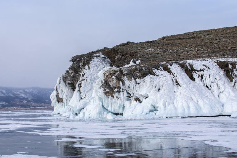 Rock island in Lake Baikal, Russia, landscape photography royalty free stock photo