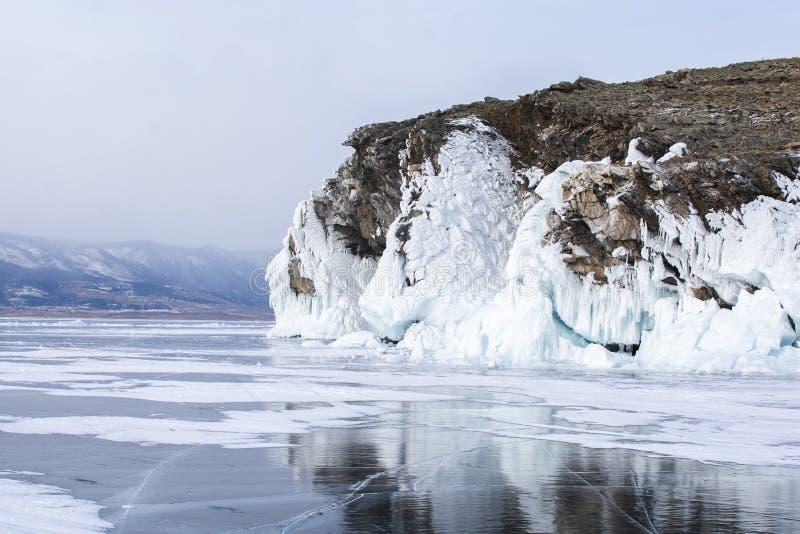 Rock island in Lake Baikal, Russia, landscape photography stock photo