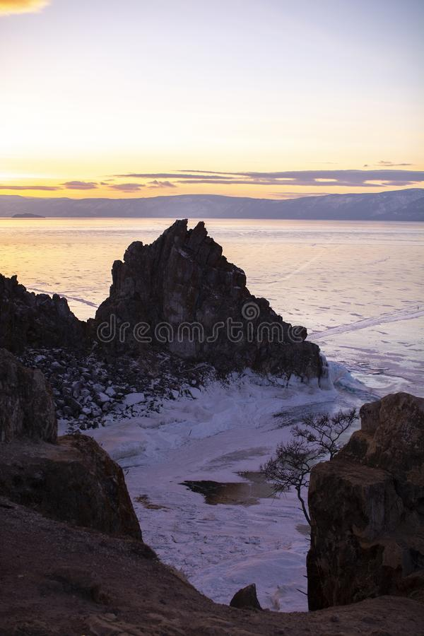 Rock island in Lake Baikal, Russia, landscape photography stock photography
