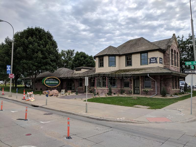 Rock Island Terminal Building is now a Great Outdoor Store. Old station converted into a place of business for the Great Outdoor Store in downtown Sioux Falls stock photo