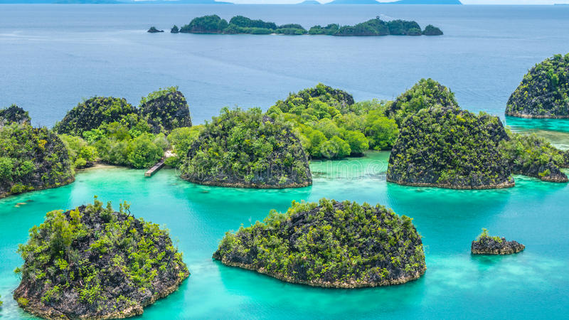 Rock Islands around Peanemo, Raja Ampat, West Papua, Indonesia royalty free stock images