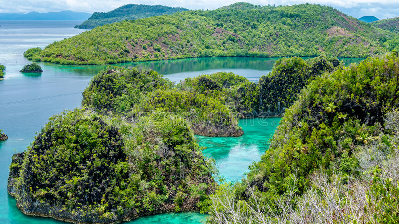 Rock Islands in Peanemo, Raja Ampat, West Papua, Indonesia royalty free stock photos