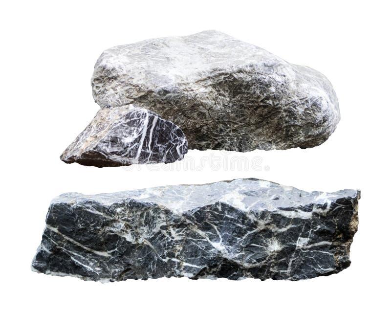 Rock isolerade p? vit bakgrund Granitsten med snittet Snabb bana arkivbilder