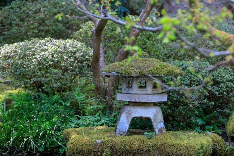 Rock lantern in portland japanese garden. In Oregon, USA stock photo