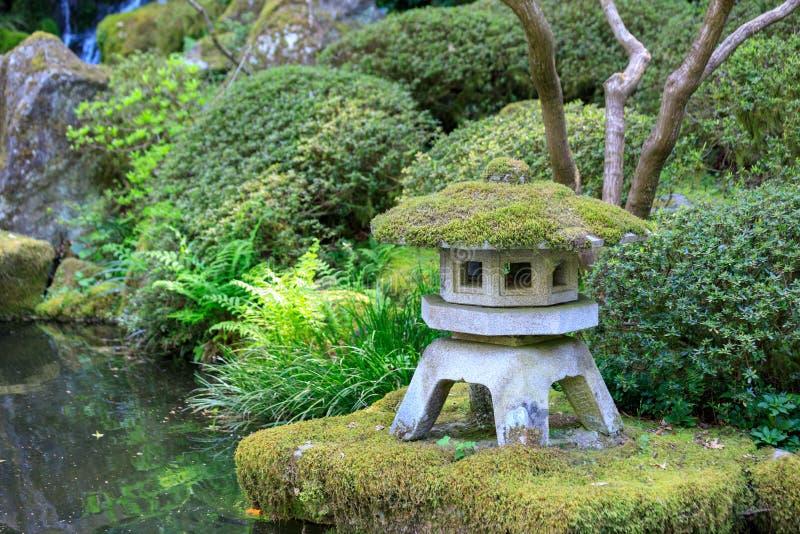 Rock lantern in portland japanese garden. In Oregon, USA stock photography