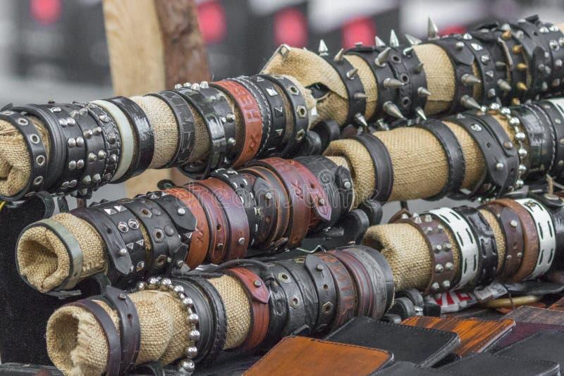 Rock leather biker bracelet. Leather bracelet. Biker accessories. Sale bracelets. Motorcyclist decoration. Rock style royalty free stock photos