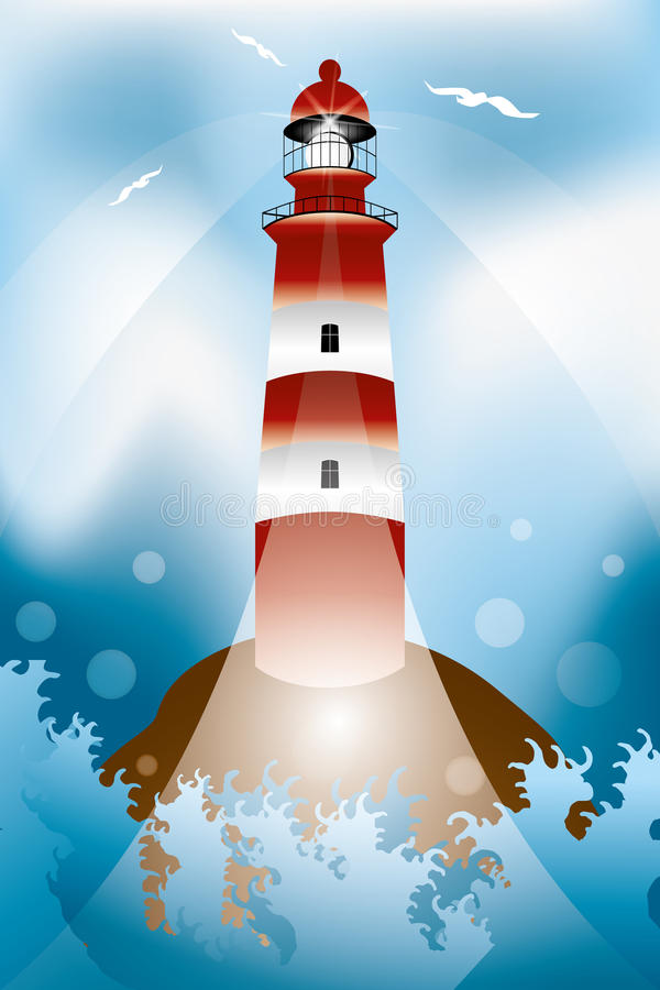 Rock with lighthouse and waves. Illustration vector illustration
