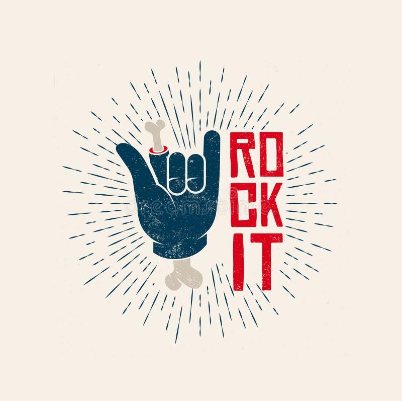 Rock It Logo Design. Rock-n-Roll themed vintage styled vector illustration. royalty free illustration