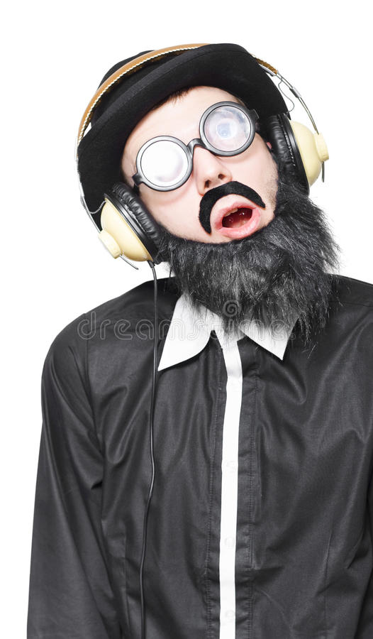 Download Rock Man Listening To Metal Music On Headphones Stock Image - Image of isolated, earphones: 27709557