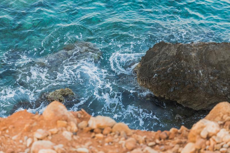 Rock on the Mediterranean coast royalty free stock images