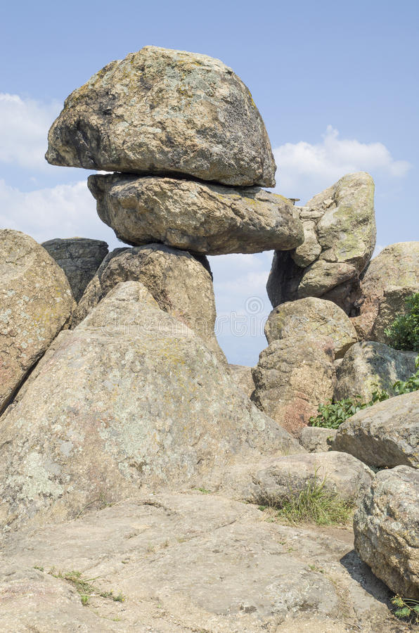 Rock megalith. `The Door of the Goddess Mother`, Buzovgrad, Kazanlak, Bulgaria stock photography