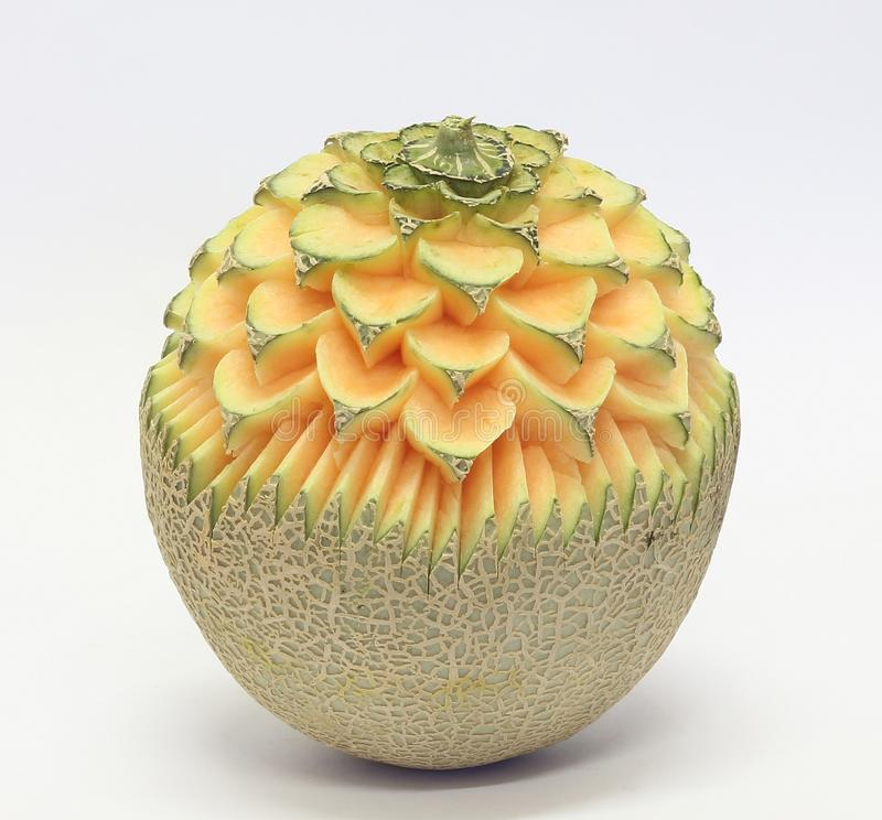 Rock melon asian fruit carving stock image of