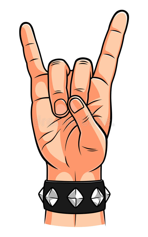 Rock and metal corna gesture. Vector illustration of rock and metal corna gesture stock illustration