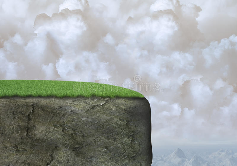 Rock Mountain Cliff Background, Clouds. A surreal rock mountain cliff background. Mountains in a mountain range is in the back along with clouds in a cloudy sky stock photo