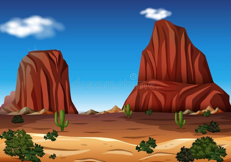 Rock Mountain in the Desert stock illustration