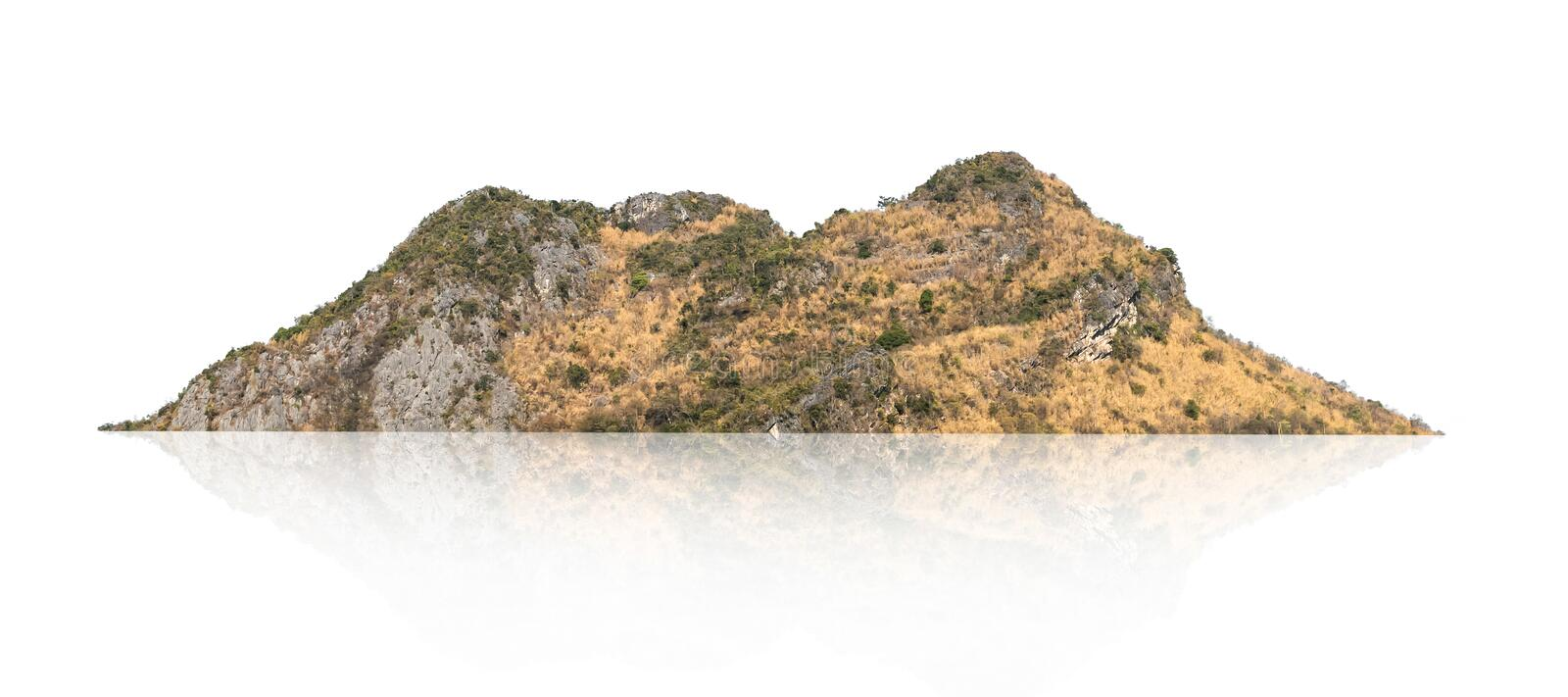 Rock mountain hill with  green forest isolate on white background stock photos
