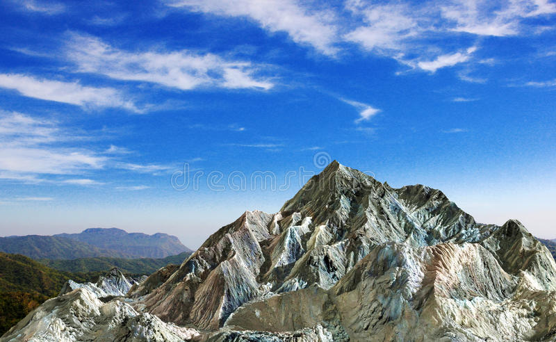 Rock mountain under cloud blue sky. For nature background royalty free stock images
