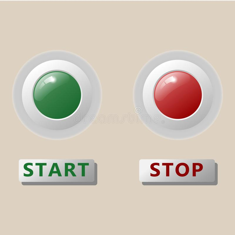 Start and stop button on control panel main machine operation, manufacturing industrial stock illustration