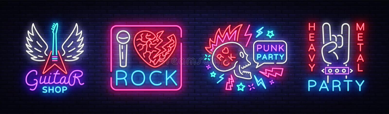 Rock Music collection Neon Signs Vector. Rock music set logos, Guitar Shop, night neon signboard, design element stock illustration