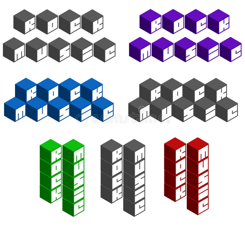 Rock music cubic square fonts in different colors. Rock music cube square fonts in different colors stock illustration