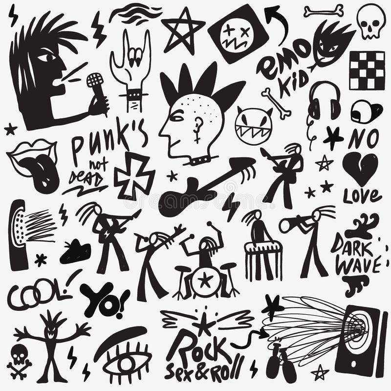 Rock Music Doodles Stock Vector Illustration Of Party 113639622