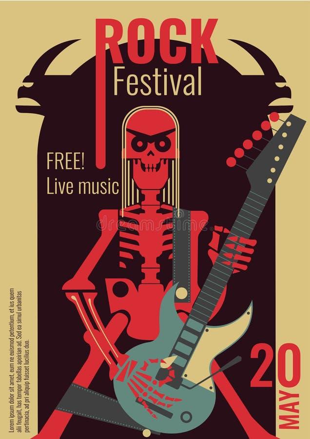 Rock music festival poster vector illustration template for live rock concert placard of skeleton rocker playing guitar. Rock music live festival poster vector vector illustration