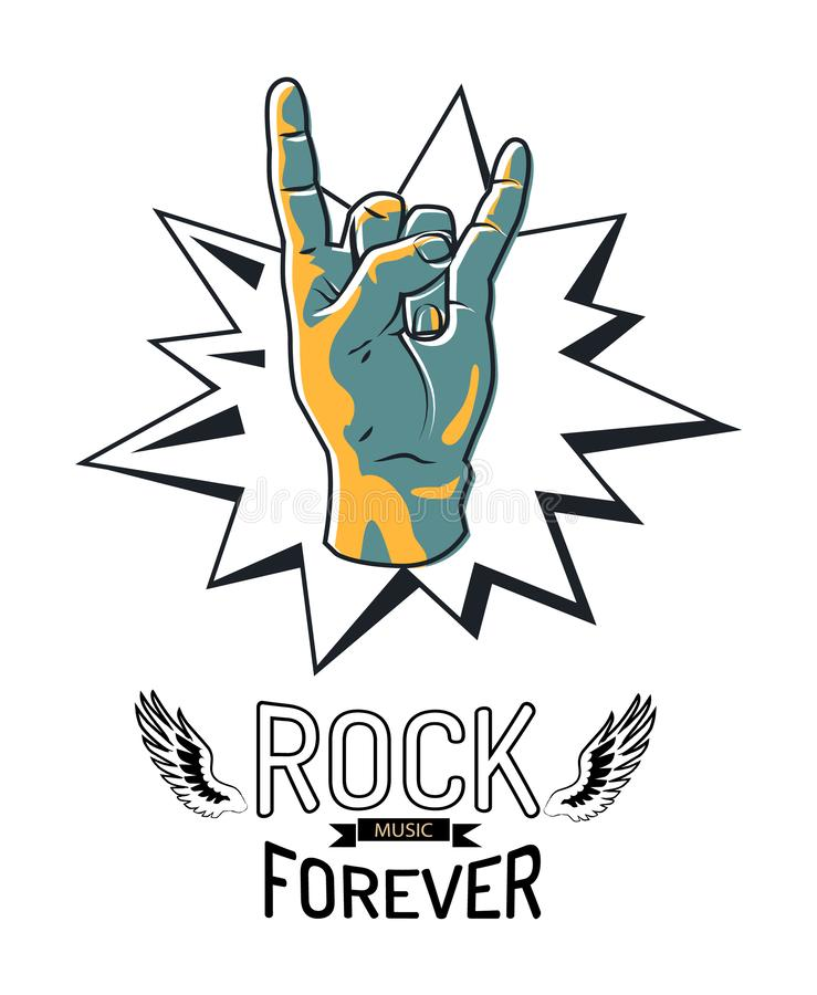 Rock Music Forever Emblem Vector Illustration. Rock music forever icon sticker. Hand gesture of rockers horned fingers sign. Wings with black ribbon, musical royalty free illustration