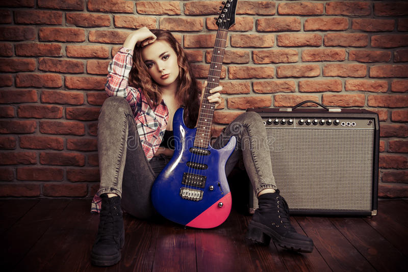 Rock music girl stock images