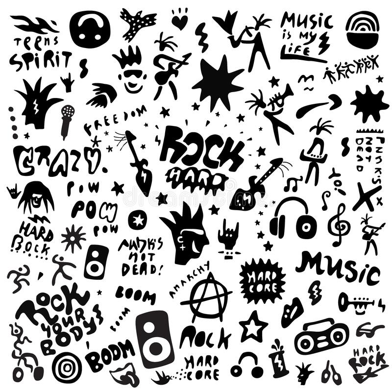 Free Rock Music - Graphic Icon Set , Design Elements Royalty Free Stock Images - 188680999