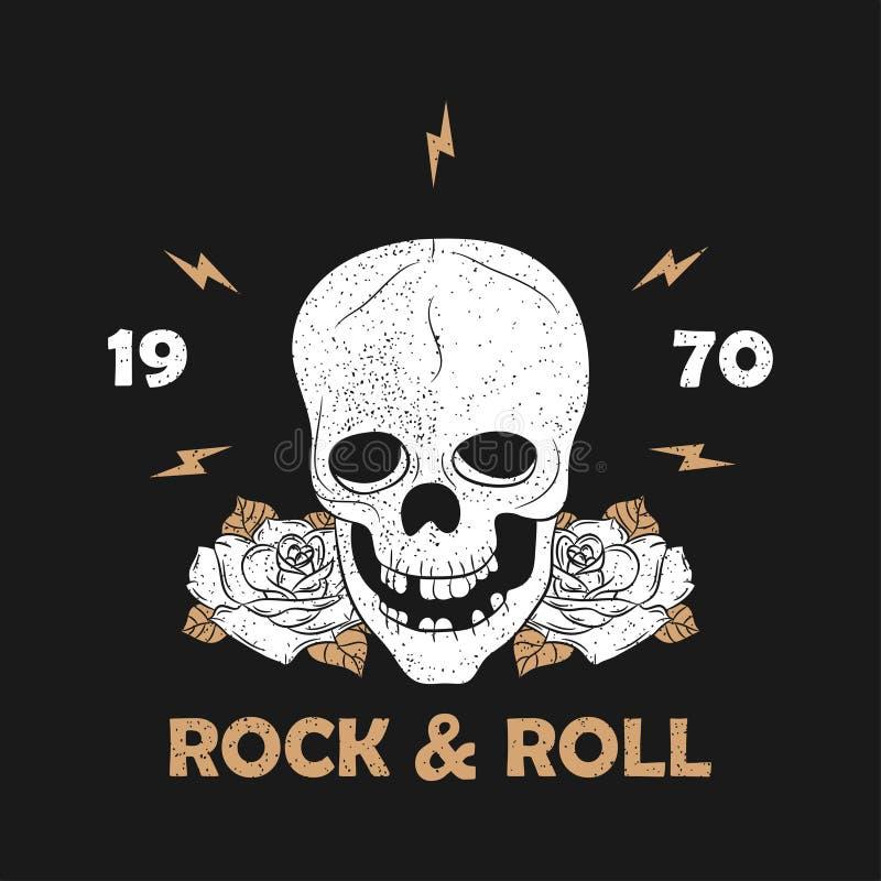 Rock music grunge print for apparel with skeleton skull and rose. Vintage rock-n-roll typography for t-shirt. Design for clothes. Vector illustration vector illustration