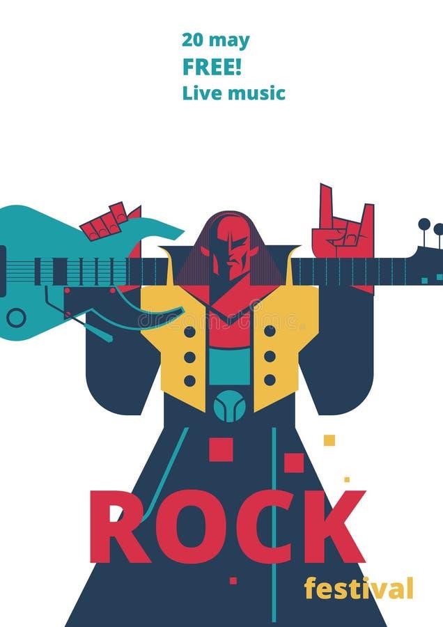 Rock music festival poster vector illustration for live rock concert placard of rocker man with guitar. Rock music live festival poster vector illustration for vector illustration