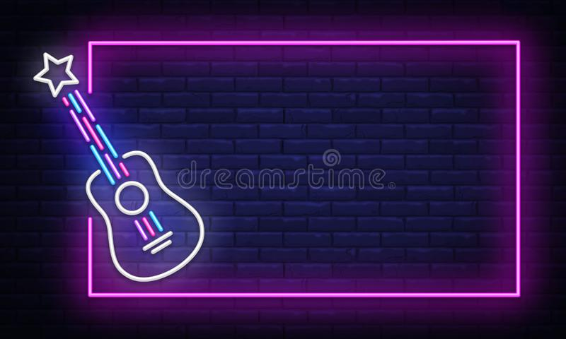 Rock Music neon sign vector. Neon Frame Rock Star Design template, light banner, night signboard, nightly bright royalty free illustration