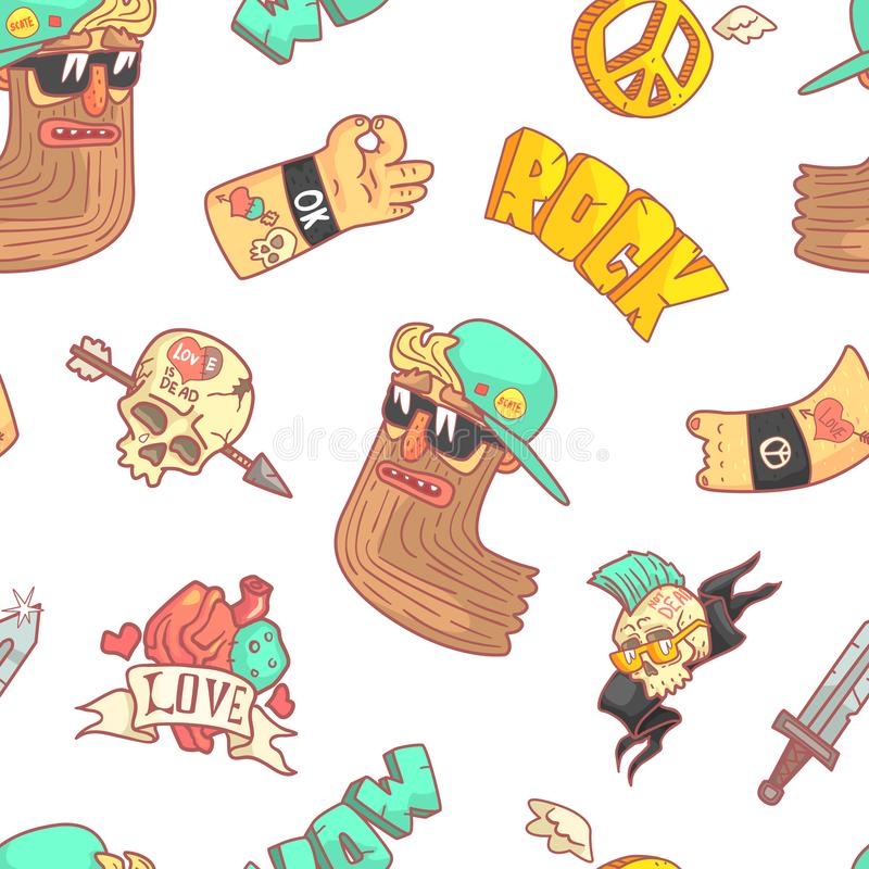 Rock Music Seamless Pattern, Musician, Tattoo, Skull with Arrow, Gesturing Hands Stickers Design Element Can Be Used for stock illustration