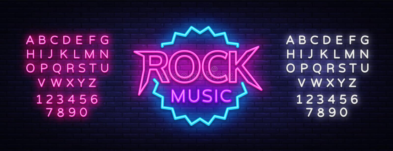 Rock Music Vector Neon. Rock Music Neon Sign, Bright Night Sign, Light Banner, Neon Night Live Music Promotion. Nightlife Vector. Editing text neon sign vector illustration