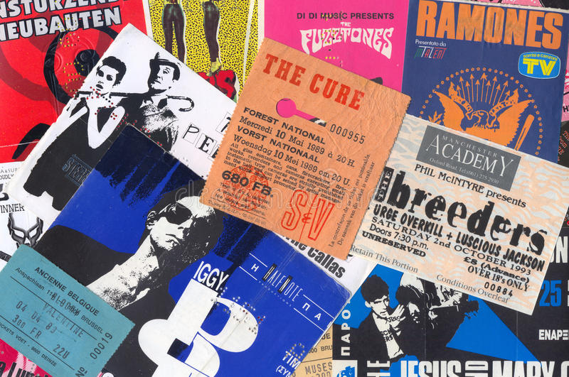 Rock music vintage concert tickets royalty free stock photography